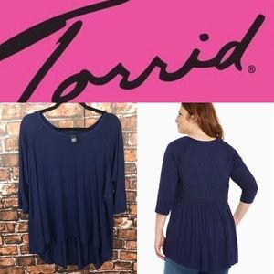 Torrid Navy Embroidered Back Tunic Top